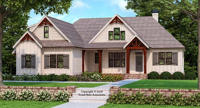 Craftsman, Farmhouse, Modern House Plan 83109 with 3 Beds, 2 Baths, 2 Car Garage Front Elevation