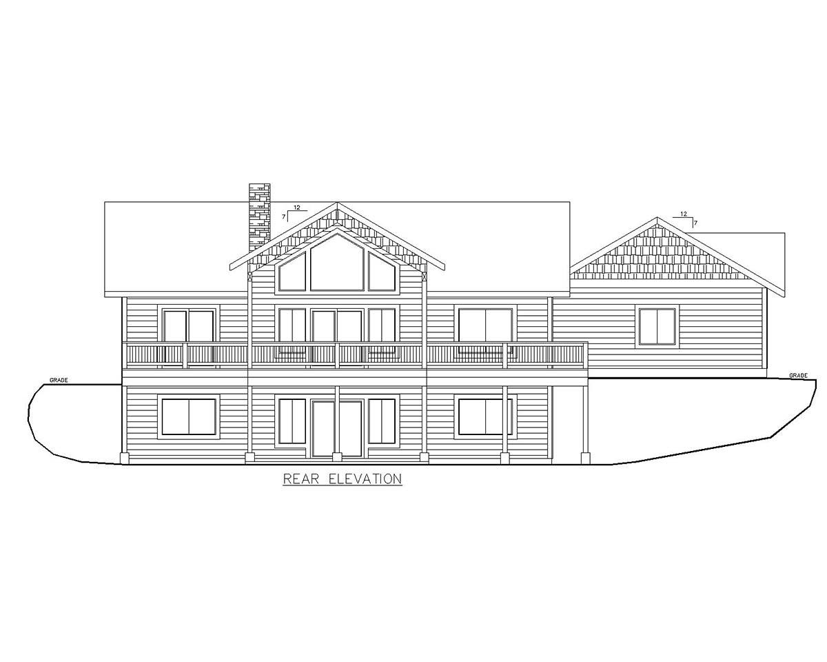 Craftsman House Plan 85118 with 4 Beds, 3 Baths, 2 Car Garage Rear Elevation