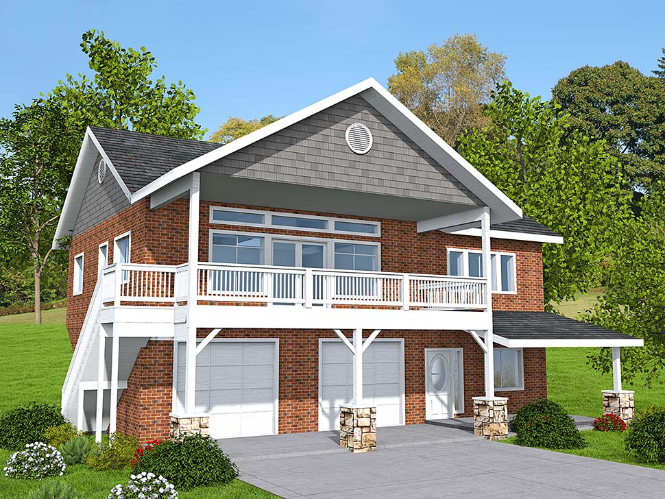 Traditional Garage-Living Plan 85137 with 2 Beds, 3 Baths, 2 Car Garage Elevation