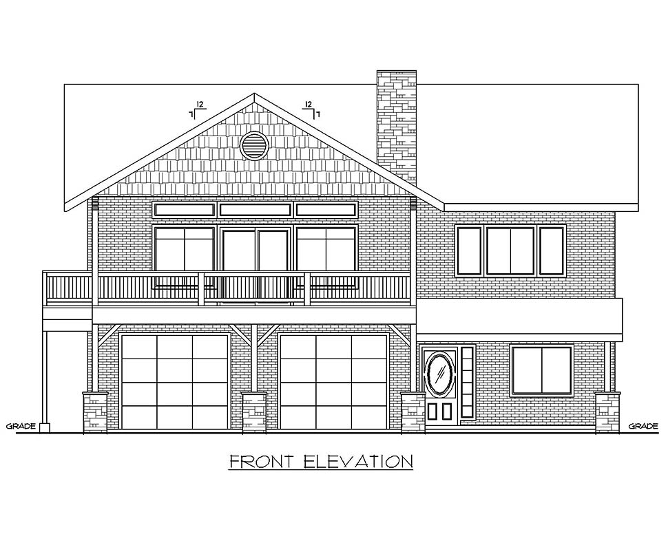 Traditional Garage-Living Plan 85137 with 2 Beds, 3 Baths, 2 Car Garage Picture 1