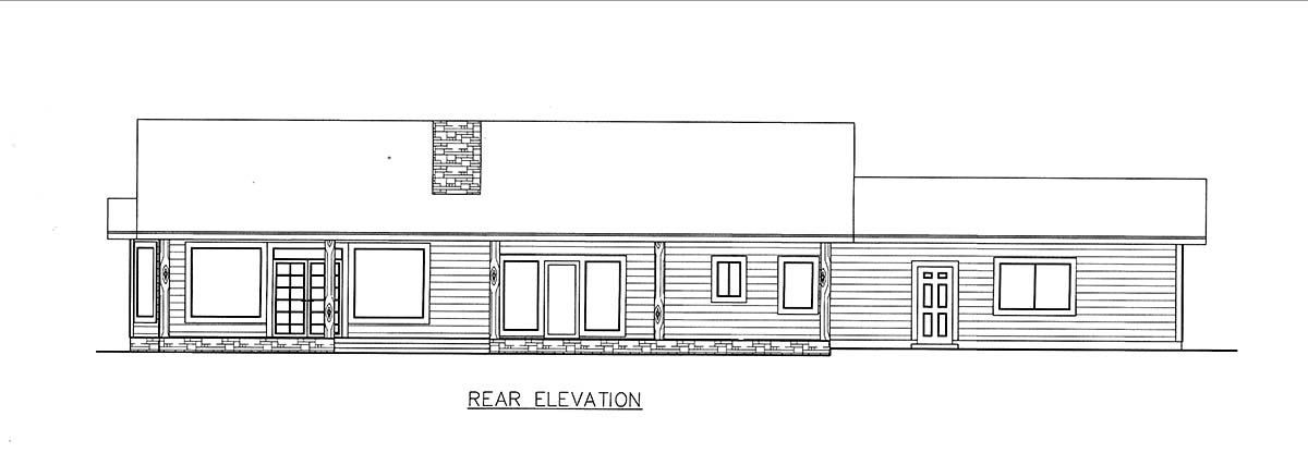 Ranch House Plan 85206 with 3 Beds, 2 Baths, 2 Car Garage Rear Elevation