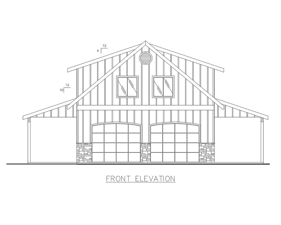 Country, Southern 4 Car Garage Apartment Plan 85207 with 2 Beds, 1 Baths Picture 3
