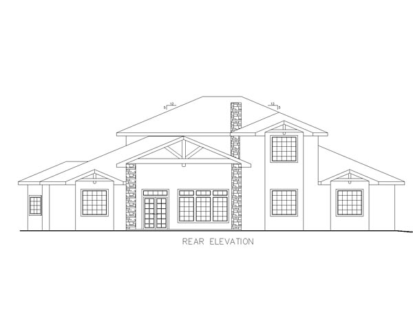 European, Traditional House Plan 85220 with 7 Beds, 8 Baths Rear Elevation