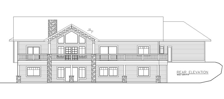 Country, Craftsman, Traditional House Plan 85246 with 5 Beds, 4 Baths, 3 Car Garage Rear Elevation
