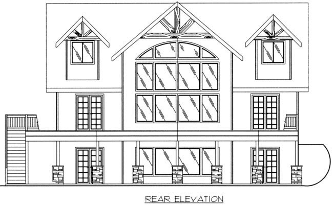 Coastal House Plan 85316 with 3 Beds, 3 Baths Rear Elevation