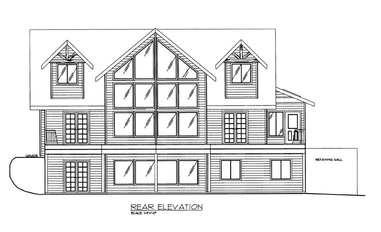 House Plan 85364 with 3 Beds, 3 Baths, 2 Car Garage Rear Elevation