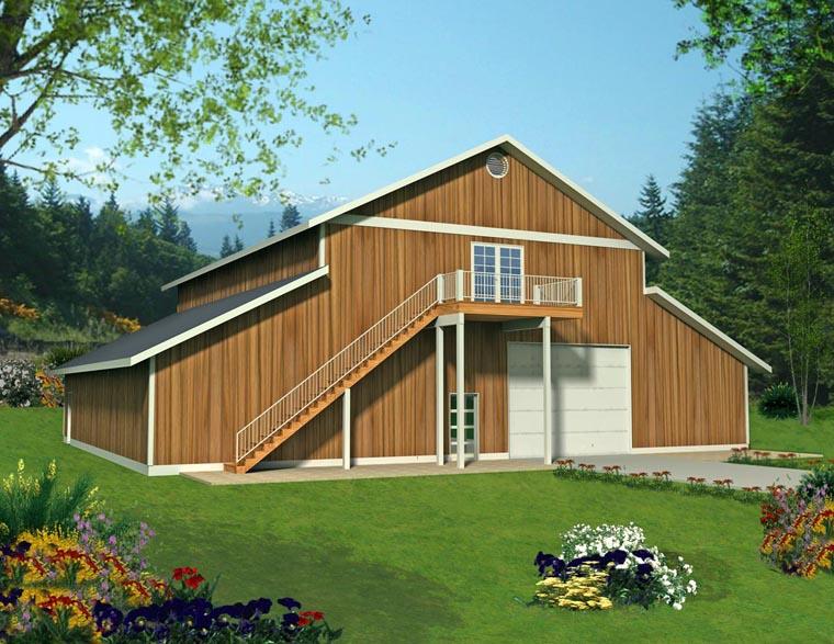4 Car Garage Apartment Plan 85387, RV Storage Elevation