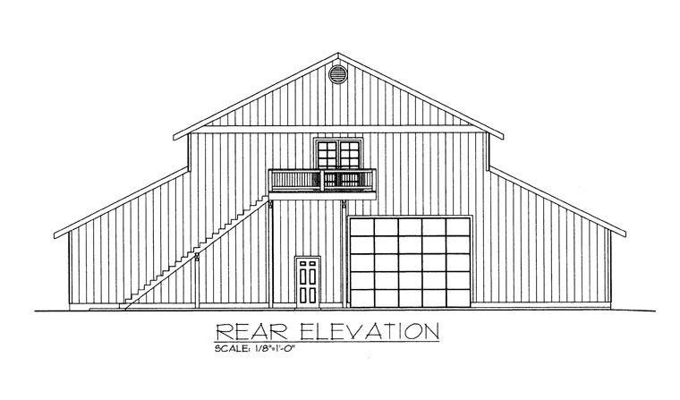 4 Car Garage Apartment Plan 85387, RV Storage Rear Elevation