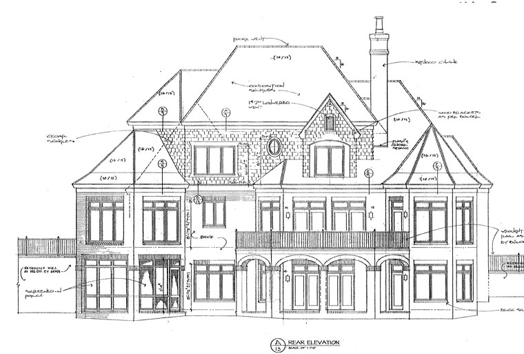 European House Plan 85461 with 5 Beds, 5 Baths, 2 Car Garage Rear Elevation