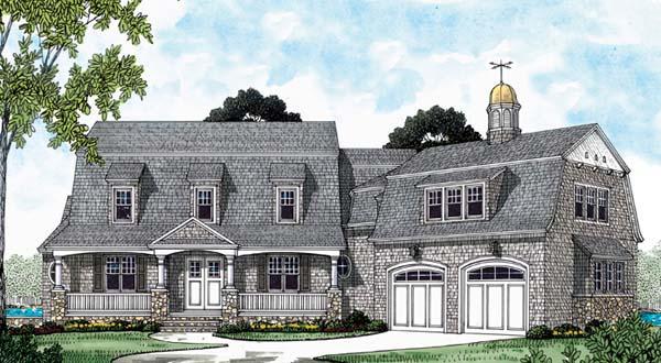 Cape Cod, European House Plan 85554 with 6 Beds, 7 Baths, 3 Car Garage Elevation