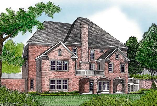 Traditional House Plan 85655 with 5 Beds, 5 Baths, 3 Car Garage Rear Elevation
