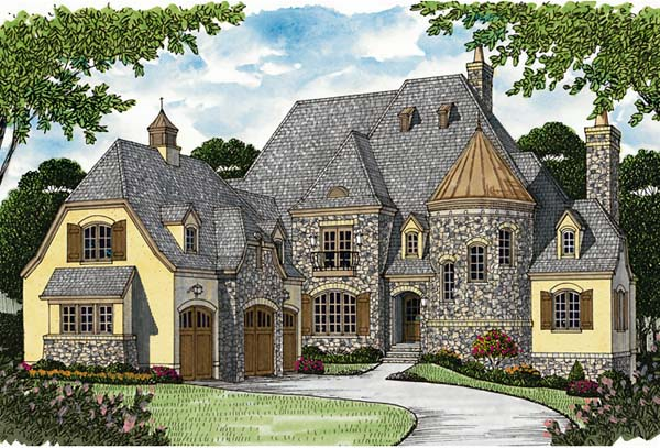 Country, European House Plan 85656 with 4 Beds, 6 Baths, 3 Car Garage Elevation