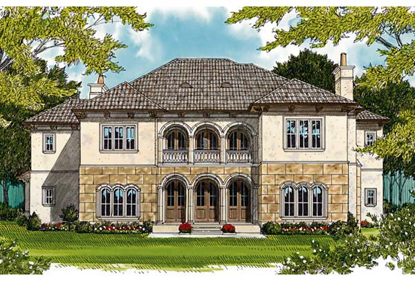 European, Mediterranean House Plan 85658 with 5 Beds, 6 Baths, 4 Car Garage Rear Elevation
