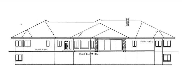 House Plan 85822 with 6 Beds, 9 Baths, 4 Car Garage Rear Elevation