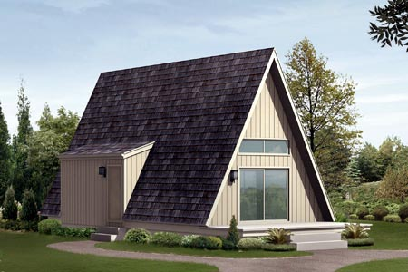 A-Frame, Cabin House Plan 85944 with 1 Beds, 1 Baths Front Elevation