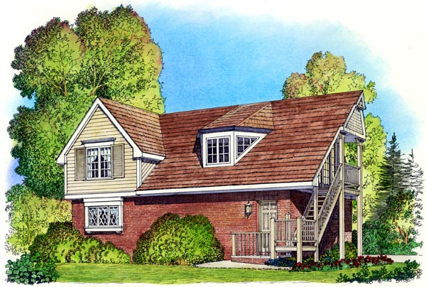 Cape Cod, Coastal, Colonial, Country, Traditional 3 Car Garage Apartment Plan 86061 with 2 Beds, 1 Baths Elevation
