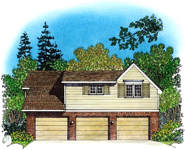 Cape Cod, Coastal, Colonial, Country, Traditional 3 Car Garage Apartment Plan 86061 with 2 Beds, 1 Baths Rear Elevation
