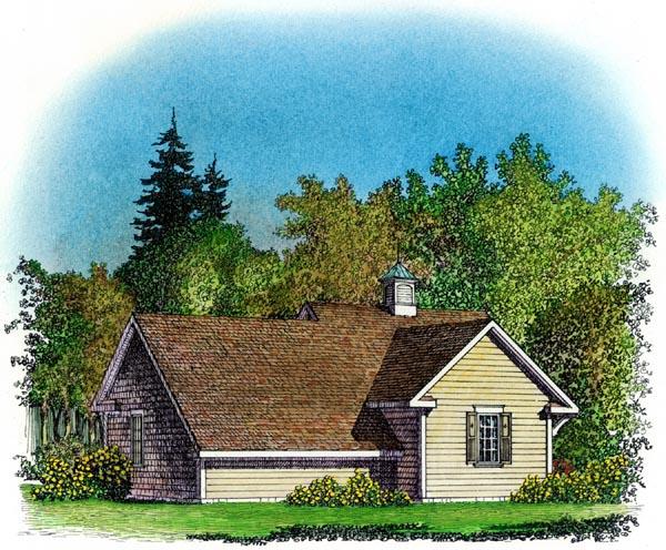 Cape Cod, Colonial, Cottage, Farmhouse, Traditional 3 Car Garage Plan 86064 Rear Elevation