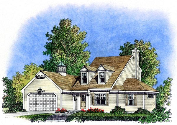 Cape Cod, Colonial, Cottage, Farmhouse, Traditional House Plan 86069 with 3 Beds, 3 Baths, 2 Car Garage Elevation