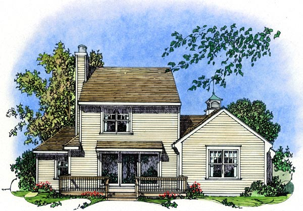 Cape Cod, Colonial, Cottage, Farmhouse, Traditional House Plan 86069 with 3 Beds, 3 Baths, 2 Car Garage Rear Elevation