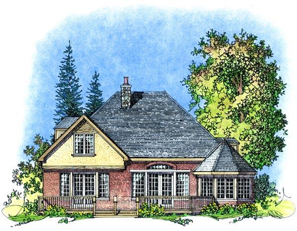 European, Mediterranean, Traditional House Plan 86070 with 3 Beds, 3 Baths, 2 Car Garage Rear Elevation