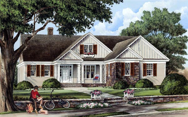 Cottage, Country, Craftsman, Traditional House Plan 86103 with 3 Beds, 3 Baths, 2 Car Garage Elevation