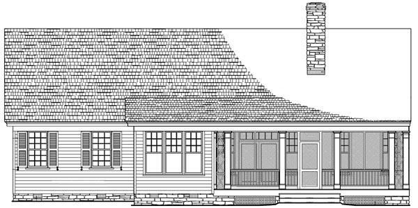 Cottage, Country, Craftsman, Traditional House Plan 86103 with 3 Beds, 3 Baths, 2 Car Garage Rear Elevation