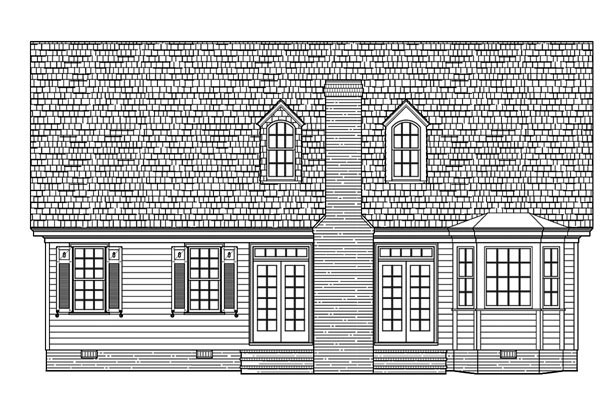 Bungalow, Cape Cod, Cottage, Country, Craftsman House Plan 86109 with 3 Beds, 3 Baths, 2 Car Garage Rear Elevation
