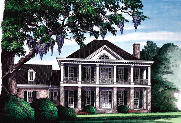 Colonial, Plantation, Southern House Plan 86120 with 3 Beds, 3 Baths, 2 Car Garage Elevation