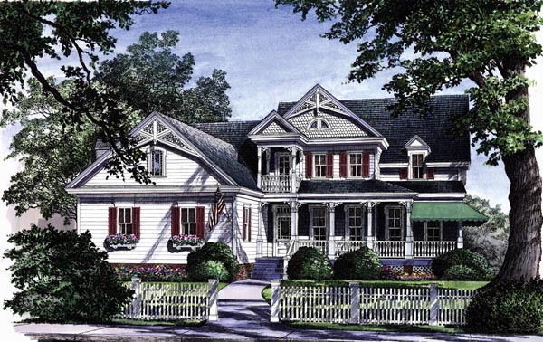 Country, Farmhouse, Victorian House Plan 86130 with 4 Beds, 4 Baths, 2 Car Garage Elevation