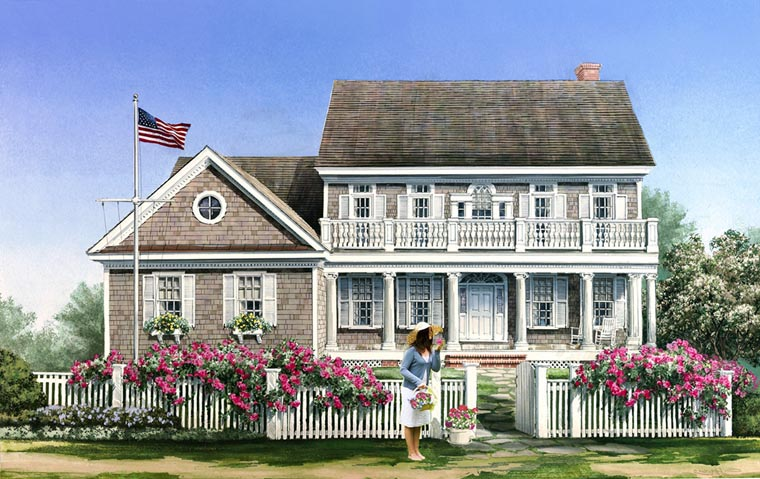 Cape Cod, Colonial, Traditional House Plan 86138 with 5 Beds, 5 Baths, 2 Car Garage Elevation