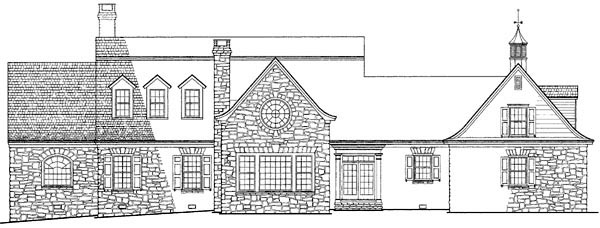 Colonial, Cottage, Country, Farmhouse, Plantation, Traditional House Plan 86164 with 4 Beds, 5 Baths, 3 Car Garage Rear Elevation