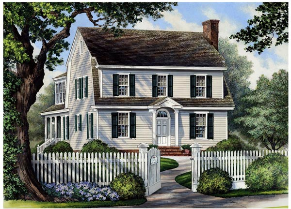 Colonial, Cottage, Country, Farmhouse House Plan 86166 with 4 Beds, 4 Baths, 2 Car Garage Elevation