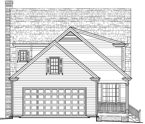 Colonial, Cottage, Country, Farmhouse House Plan 86166 with 4 Beds, 4 Baths, 2 Car Garage Rear Elevation