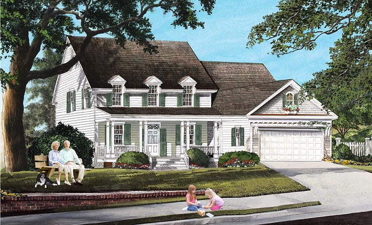 Country, Farmhouse, Traditional House Plan 86167 with 4 Beds, 4 Baths, 2 Car Garage Elevation