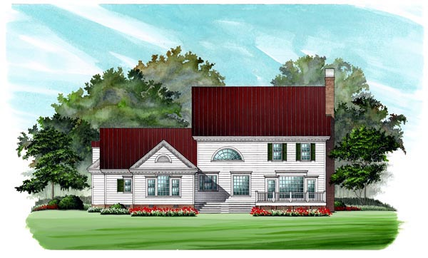 Colonial, Southern House Plan 86182 with 4 Beds, 4 Baths, 2 Car Garage Rear Elevation