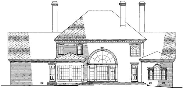 Colonial, Plantation House Plan 86207 with 4 Beds, 5 Baths, 3 Car Garage Rear Elevation