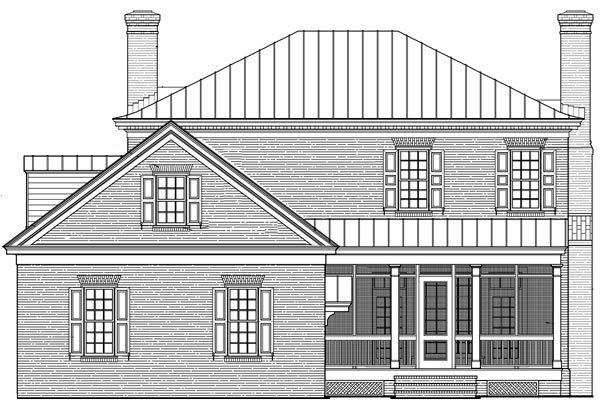Colonial, Plantation, Southern House Plan 86225 with 4 Beds, 5 Baths, 2 Car Garage Rear Elevation