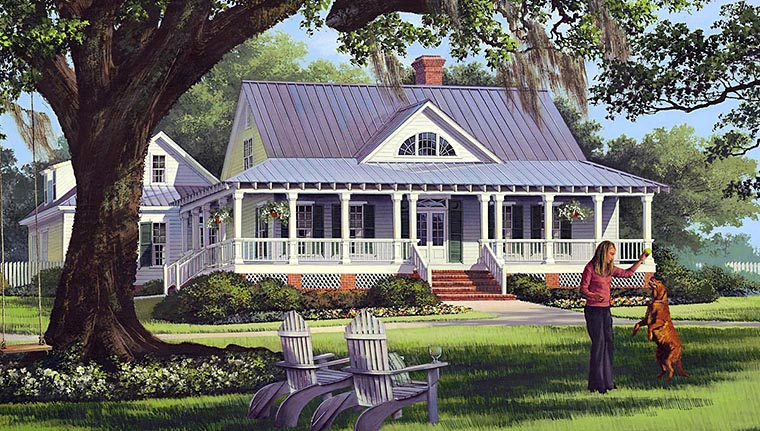 Cottage, Country, Farmhouse, Traditional House Plan 86226 with 4 Beds, 3 Baths, 2 Car Garage Front Elevation