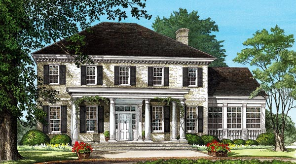 Colonial, Plantation, Southern House Plan 86242 with 4 Beds, 4 Baths, 2 Car Garage Elevation