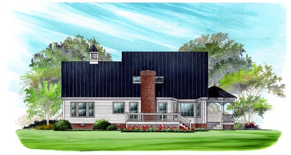 Country, Farmhouse, Victorian House Plan 86246 with 3 Beds, 3 Baths, 2 Car Garage Rear Elevation
