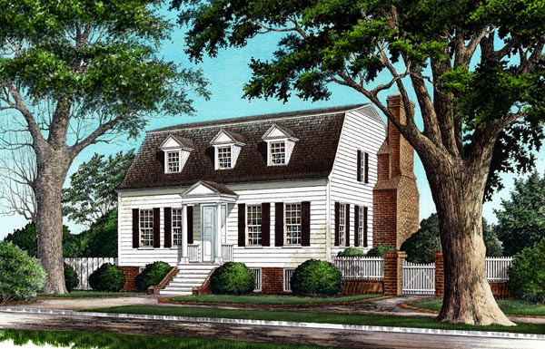 Colonial House Plan 86247 with 4 Beds, 4 Baths, 2 Car Garage Front Elevation
