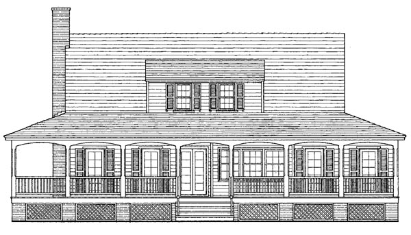 Farmhouse, Traditional House Plan 86257 with 3 Beds, 3 Baths Rear Elevation