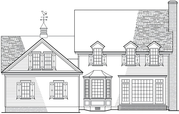 Cottage, Country House Plan 86278 with 4 Beds, 4 Baths, 2 Car Garage Rear Elevation