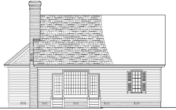 Colonial, Southern, Traditional House Plan 86285 with 3 Beds, 3 Baths, 2 Car Garage Rear Elevation