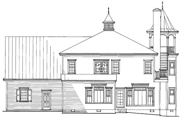 Farmhouse, Southern, Victorian House Plan 86291 with 4 Beds, 4 Baths, 2 Car Garage Rear Elevation