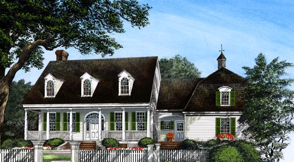 Colonial, Cottage, Country, Farmhouse, Southern House Plan 86296 with 4 Beds, 4 Baths, 2 Car Garage Elevation