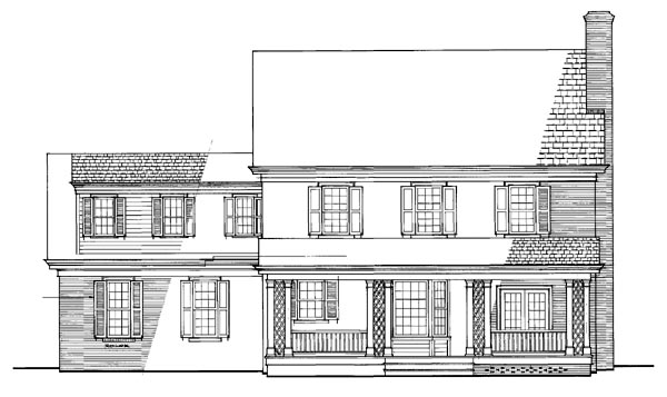 Traditional House Plan 86304 with 4 Beds, 3 Baths, 2 Car Garage Rear Elevation