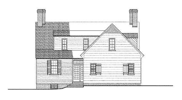 Cape Cod, Colonial House Plan 86324 with 3 Beds, 4 Baths, 2 Car Garage Rear Elevation