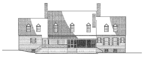 Colonial, Plantation, Traditional House Plan 86336 with 4 Beds, 6 Baths, 2 Car Garage Rear Elevation